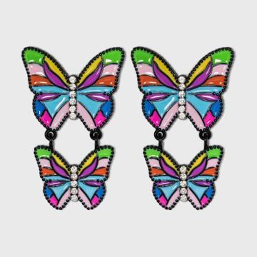 Sugarfix By Baublebar Colorful Butterfly Drop Earrings, Black