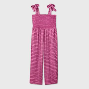 Women's Plus Size Sleeveless Smocked Tie Jumpsuit - Universal Thread Pink 1x, Women's,