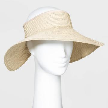 Women's Roll Up Visor Hats - A New Day Natural One Size, Women's, Yellow
