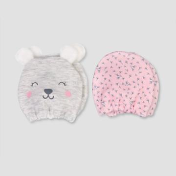 Baby Girls' 2pk Bear Mittens - Just One You Made By Carter's Gray Newborn, Girl's, Gray Pink