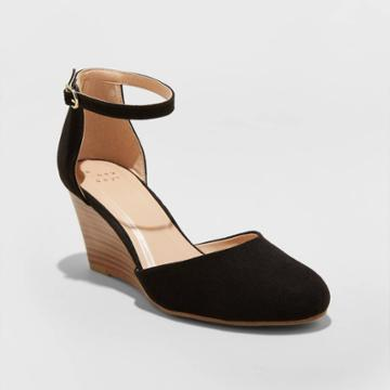 Women's Wendi Microsuede Rounded Toe Wedge Pumps - A New Day Black