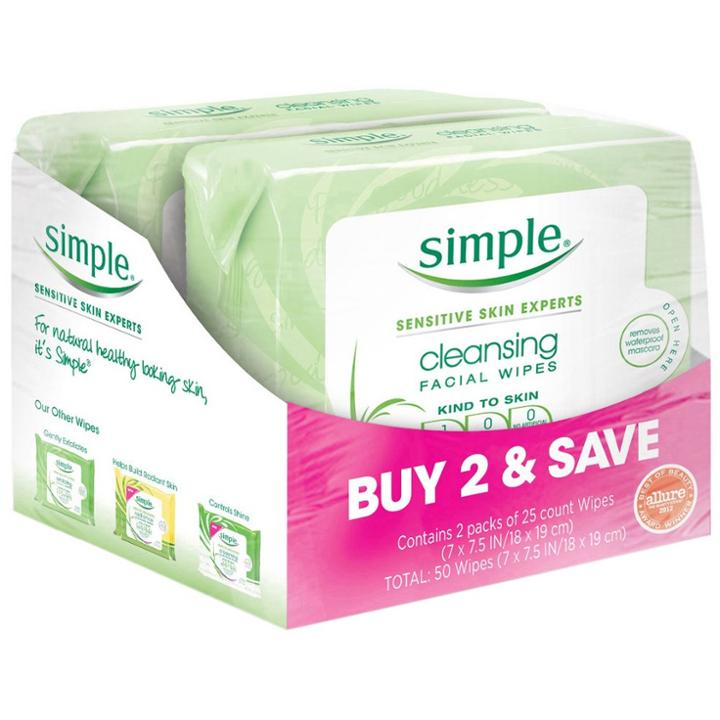 Unscented Simple Cleansing Facial Wipes Kind To