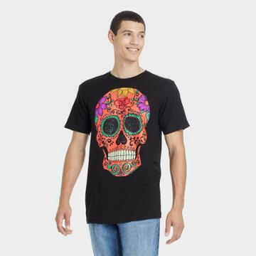 Bioworld Men's Neon Skull Short Sleeve Graphic T-shirt - Black