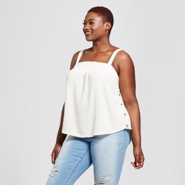 Women's Plus Size Wide Strap Tank Top - Universal Thread White