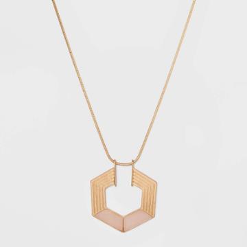 Semi-precious Rose Quartz Hexagon Pendant Necklace - Universal Thread Mauve, Women's, Pink