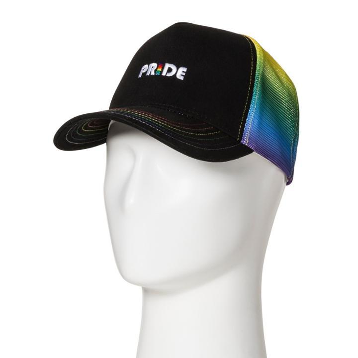 Concept One Pride Adult Rainbow Trucker Baseball Hat - Black, Adult Unisex