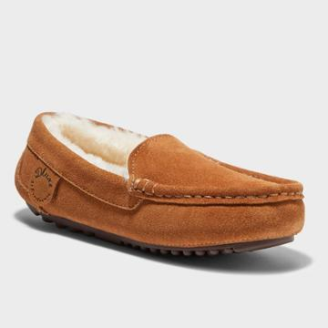 Kids' Dluxe By Dearfoams Jasper Genuine Shearling Moccasin Slippers - Dark Chestnut