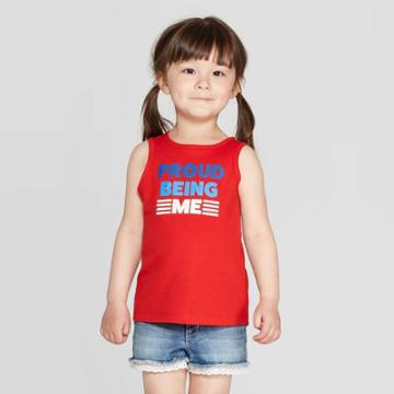 Toddler Girls' 'proud Being Me' Graphic Tank Top - Cat & Jack Red