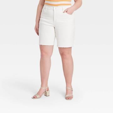 Women's Plus Size Bermuda Jean Shorts - Ava & Viv White