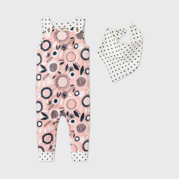 Baby Girls' Floral Romper With Bib - Cat & Jack Pink Newborn