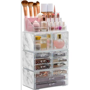 Sorbus Cosmetic Makeup And Jewelry Storage Case Tower Display Organizer -