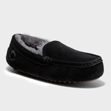 Women's Dluxe By Dearfoams Fernie Genuine Shearling Moccasin Slippers - Black