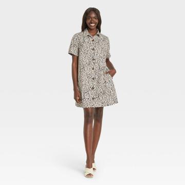 Women's Leopard Print Short Sleeve Shirtdress - Who What Wear Off-white