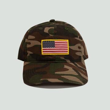 Concept One Men's Camo Print Americana Flag Baseball Hat - Green