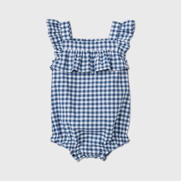 Baby Girls' Gingham Buble Romper - Cat & Jack Blue Newborn