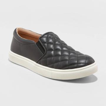 Women's Reese Wide Width Memory Foam Insole Sneakers - A New Day Black