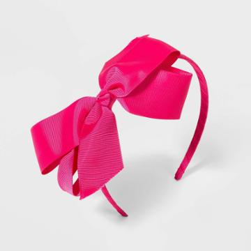 Girls' Solid Bow Headband - Cat & Jack Pink