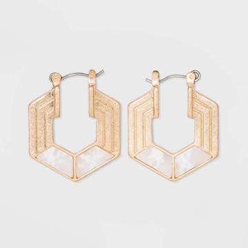 Semi-precious White Jade Hexagon Hoop Earrings - Universal Thread White, Women's