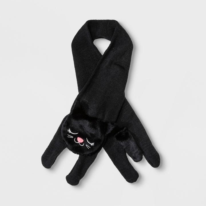 Girls' Knit Cat Scarf - Cat & Jack Black
