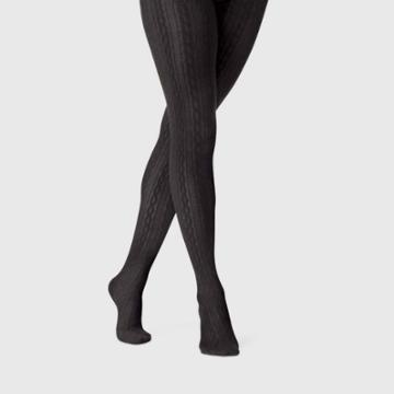 Women's Cable Sweater Tights - A New Day Black S/m, Size: