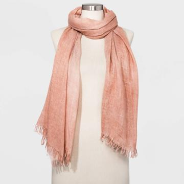 Women's Washed Jacquared Oblong Scarf - Universal Thread Coral, Women's, Size: