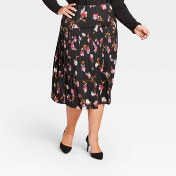 Women's Plus Size Floral Pleated Midi Skirt - Who What Wear Pink