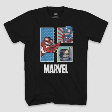 Men's Marvel Falcon Winter Soldier Chibi Short Sleeve Graphic T-shirt - Black