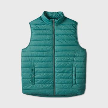 Men's Tall Fullzip Lightweight Puffer Vest - Goodfellow & Co Green