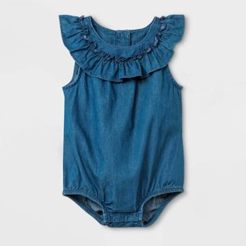 Baby Girls' Denim Romper - Cat & Jack Blue Newborn, Girl's