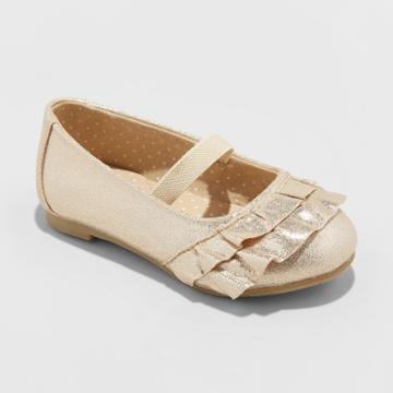 Toddler Girls' Mabelle Metallic Ballet Flats - Cat & Jack Gold