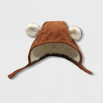 Baby Boys' Critter Bonnet With Sherpa And Ears Hat - Cat & Jack Brown Newborn