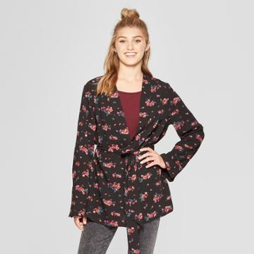 Women's Long Sleeve Belted Floral Kimono Jacket - Xhilaration Black