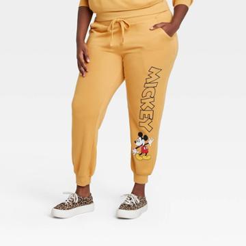 Women's Disney Mickey Mouse Plus Size Graphic Jogger Pants - Yellow