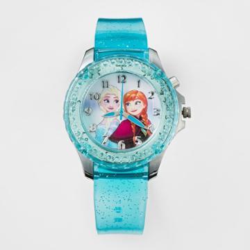 Kids Disney Frozen Rotating Lights Bezel Analog Watch Blue, Girl's