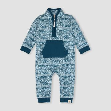 Burt's Bees Baby Baby Boys' French Terry Reptile Ripple Zip-up Jumpsuit - Dark Teal