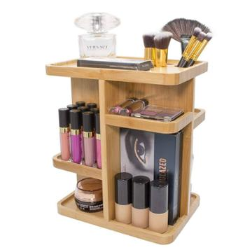 Sorbus Multi-function Storage Carousel Bamboo Cosmetic Organizer
