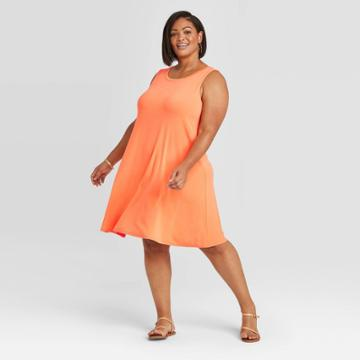 Women's Plus Size Sleeveless Swing Dress - Ava & Viv Orange X