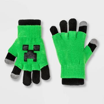 Boys' Minecraft Creeper 3 In 1 Gloves - Green/black One Size, Boy's, Black Green
