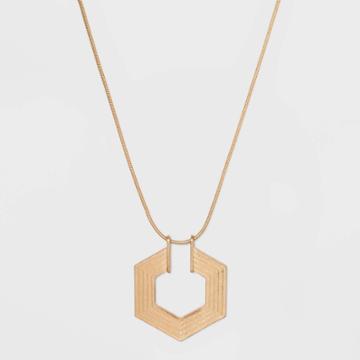 Textured Hexagon Pendant Necklace - Universal Thread Worn Gold, Women's
