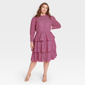 Women's Plus Size Leopard Print Puff Long Sleeve A-line Dress - Who What Wear Pink