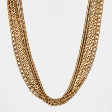 Multi Layer Thick Chained Necklace - Universal Thread Worn Gold
