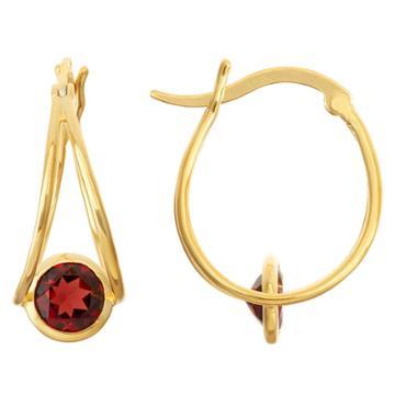 1 2/3 Tcw Tiara Gold Over Silver 6mm Bezel-set Garnet Hoop Earrings, Red