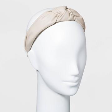 Faux Leather Knot Headband - A New Day Beige