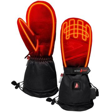 Actionheat 5v Battery Heated Women's Mittens - Black L/xl, Women's,