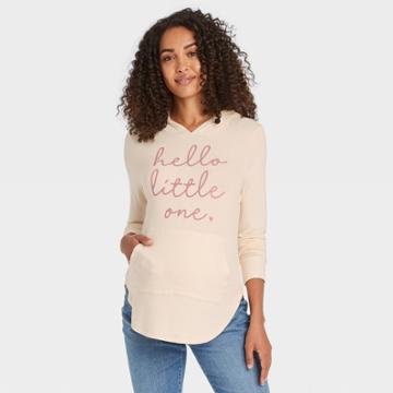 Hooded Hello Little One Graphic Maternity Sweatshirt - Isabel Maternity By Ingrid & Isabel Cream