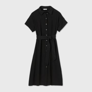Women's Short Sleeve Front Button-down Dress - Prologue Black