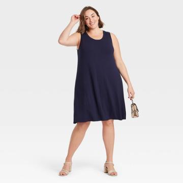 Women's Plus Size Sleeveless Knit Swing Dress - Ava & Viv Navy X, Blue