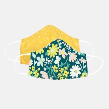 Kids' 2pk Flower Cloth Face Masks - Cat & Jack Teal/yellow, Green/yellow