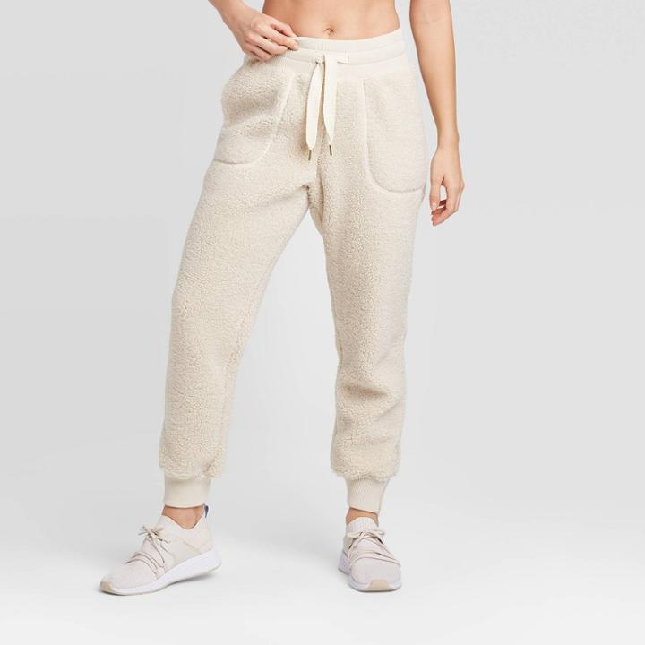 Women's High-waisted Sherpa Pants - Joylab Ivory L, Women's,