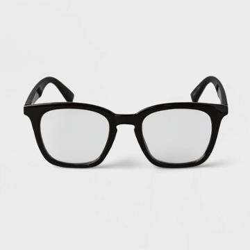 Men's Vintage Square Blue Light Filtering Reading Glasses - Goodfellow & Co Black